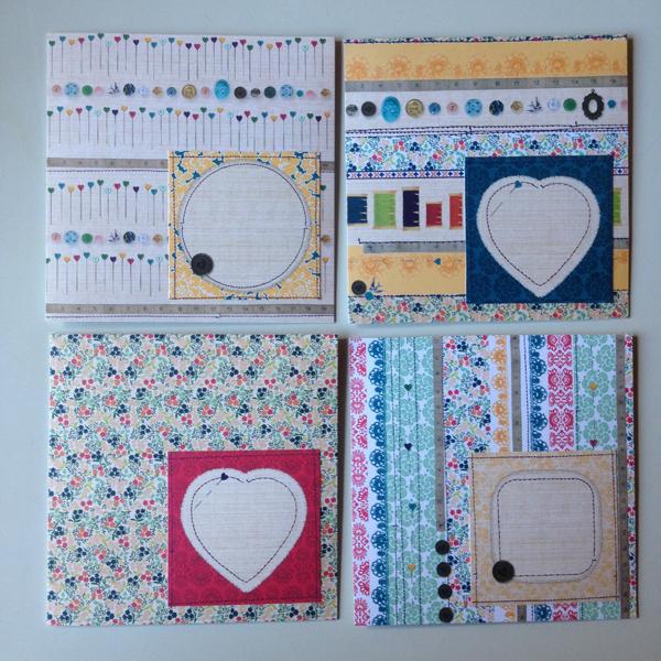 Tein mm. tällaisia kirjekuorituunauksia. Ihania ompeluaiheisia papereita!