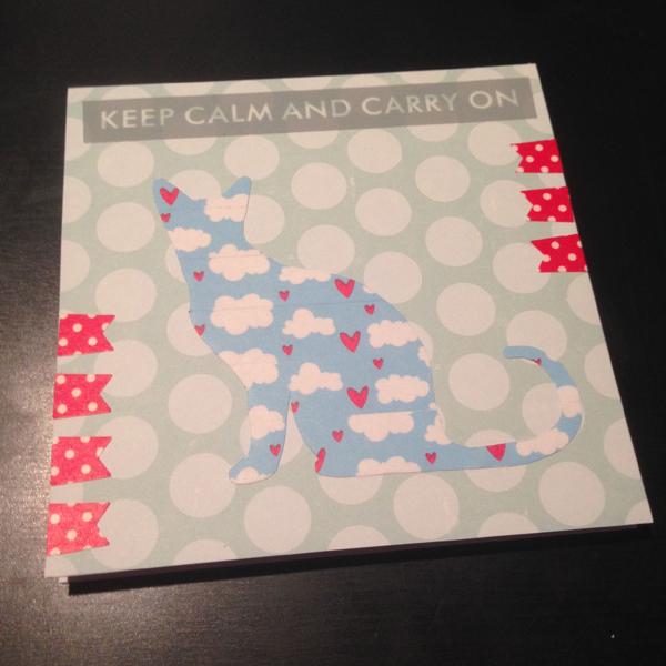 Tämä kortti meni swap-botissa vaihtoon, jossa piti tehdä washiteipein koristeltu kortti. Vastaanottaja tykkää kissoista, joten tein kissamaisen kortin.
